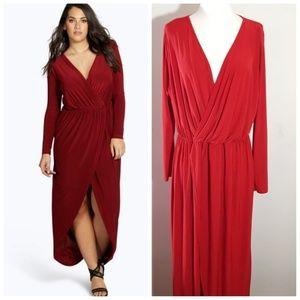 Boohoo Plus Red Slinky Maxi Dress